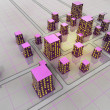 Stock Photo: Futuristic scifi city grid structure concept