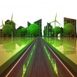Flame on the road to green powered city concept — Stock Photo