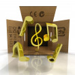 Transported flying golden music symbols surprise — Stock Photo