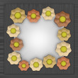 Orange yellow blossom square frame on metal — Stock Photo