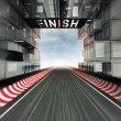 Finish panel above racetrack in modern city space — Stock Photo #23366692