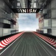 Finish panel above racetrack in modern city space - Stock Photo