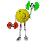 Dollar coin robot heave his dimbbell illustration — Stock Photo