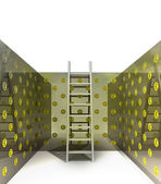 Metallic ladder in pound pattern painted room — Zdjęcie stockowe