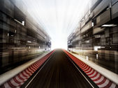 Racetrack in glass bussiness city background — Stock Photo