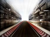 Tor wyścigowy w szkło biznesowym miasta tło — Zdjęcie stockowe