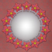Blossom circle card motive on red linen — Stock Photo