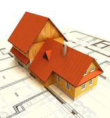 Classical mountain isolated building house with layout plan — Stock Photo