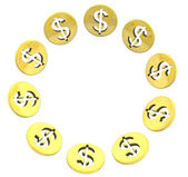 Isolated dollar golden coin symbol circle on white — Stock Photo