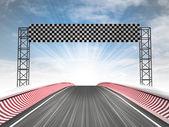 Formel racing mållinjen visa med himmel — Stockfoto