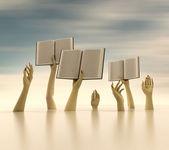 Braços segurando os livros na horizontal desfocagem o fundo — Foto Stock