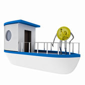 Dollar coin standing on the boat illustration — Stock Photo