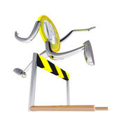 Euro coin robot jumping above hurdle illustration — Stock Photo