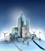 Ecological city general view with windmills — Stock Photo