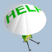 Paracadutista di euro moneta robot aiuta illustrazione — Foto Stock