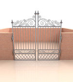 Closed iron gate in quadrilateral brick fence — Stock Photo