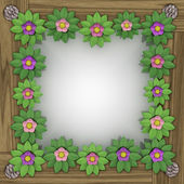 Blossom square frame on wooden surface — Stock Photo