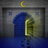 Opened blue doorway with yellow glow — Stock Photo