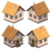 Four isometric views on new real estate project — Stock Photo