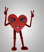 Heart figure victory happiness against disease — Stock Photo