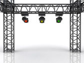 Stage construction with three colorful spotlights — Stock Photo