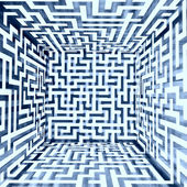 Blue white dimensional maze composition inside look — Stock Photo