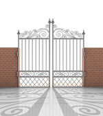 Isolated closed iron gate in strong brick wall — Stock Photo