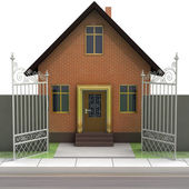 Brick house with opened iron fence front view — Stock Photo
