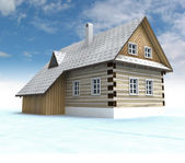 Classical mountain cabin with blue sky — Stock Photo