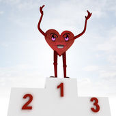 Heart figure happiness and health victory ceremony — Stock Photo