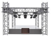 Isolated stage podium with many spotlights — Stock Photo