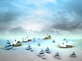 Winter village perspective with high mountain landscape — Stock Photo
