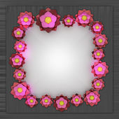 Red pink blossom square frame on metallic surface — Stock Photo