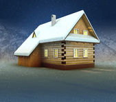 Old mountain cottage and window lighting at night snowfall — Stock Photo