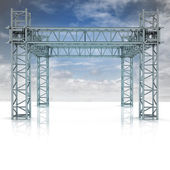 Iron new building construction frame with blue sky — Stock Photo