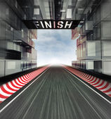 Finish panel above racetrack in modern city space — Stock Photo