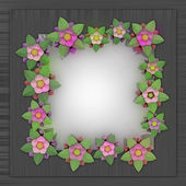 Blossom square frame card on metallic surface — Stock Photo