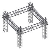 Isolated iron building construction frame isometric view — Stock Photo