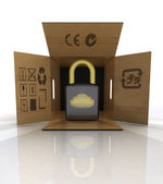 New security padlock advertise in carton box — Stock Photo