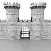 Isolated medieval stoned castle gate with towers — Stock Photo