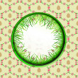 Inner grassy circle label with easter egg pattern vector — Stock Vector