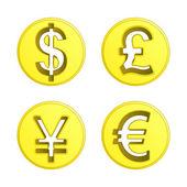 Dollar euro yen and pound coin vector pack — Stock Vector