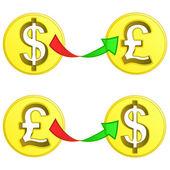 Vector de cambio moneda británico libra y el dólar — Vector de stock
