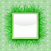 Outer grass square with foliage pattern vector — Stock Vector