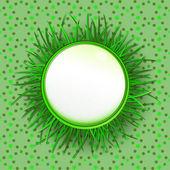 Travní kruhový popisek s zelené pozadí vektorové vzorce — Stock vektor