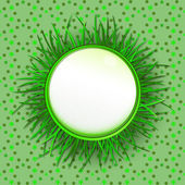 Grass circle label with green background vector pattern — Stock Vector