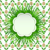 Grass cloudy label with easter egg pattern vector — Stock Vector