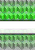 Green cubic dimensional with blank text stripe vector — Stock Vector