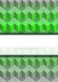 Verde cubo dimensionale con vettore striscia di testo vuoto — Vettoriale Stock
