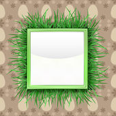 Outer grassy square label with easter egg pattern vector — Stock Vector